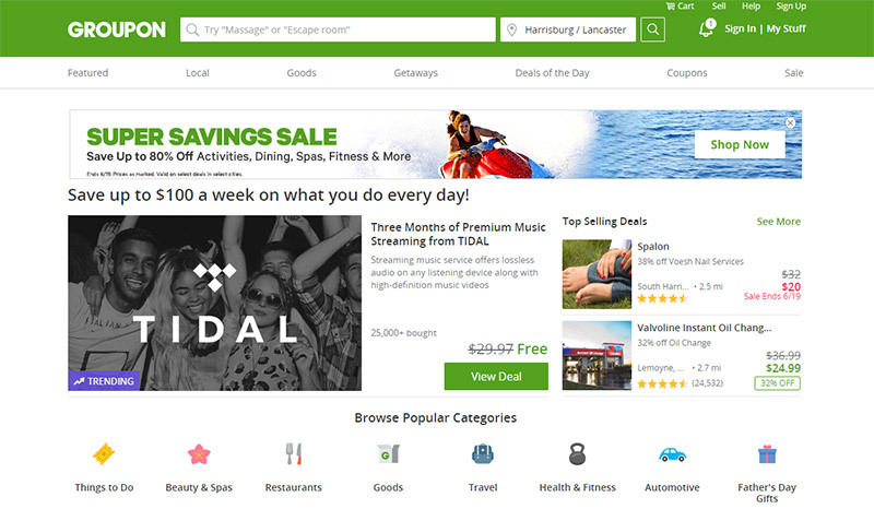 Find Great Deals at Groupon