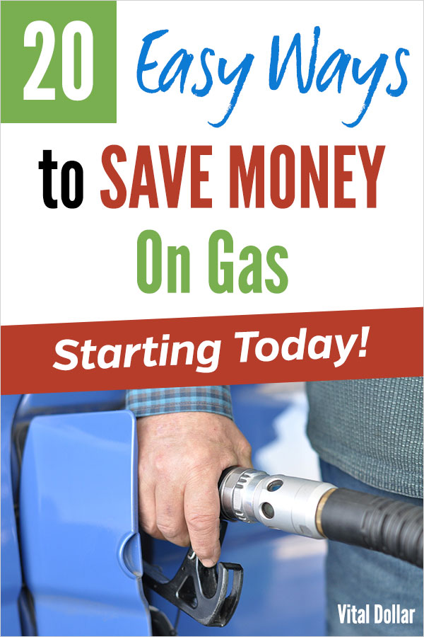 How to Save Money on Gas, 20 easy ways to spend less. Get better mileage, take advantage of cash back, find the best gasoline prices using apps, & more tips. Taking a road trip? These frugal living ideas will keep more cash in your wallet. Get great credit card rewards, loyalty pricing, stack cash back, get cheap gift cards, and more ideas. Save money, pad your budget with these personal finance tips. #vitaldollar #frugal #savingmoney #traveltips #roadtrips #travelhacking