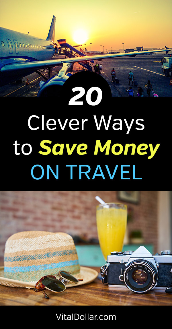 20 Clever Ways to Save Money on Travel. Practical tips to help you pay less for airfare and flights, road trips, rental cars, hotels, and more. A collection of websites, apps and resources in addition to the tips for travel hacking. Whether you are taking a family vacation to Disney World or business travel to Europe, these frugal tips are great for saving money. Don't break the budget. Being thrifty is easy with these tips! #vitaldollar #savemoney #savingmoney #travel
