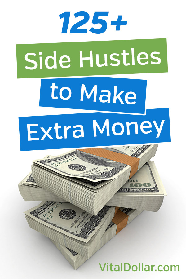Ways to Make Money: 150+ Side Hustle Ideas for Your Spare Time. Want or need some extra money? Start a side hustle to earn more without needing a job or working overtime. These ideas will give you plenty of tips you can use, including many ways to start your own business part time. You\'ll learn about things like blogging, driving, taking surveys, freelancing, selling on amazon, flipping items, and much more. #vitaldollar #sidehustle #makemoney #entrepreneur #money