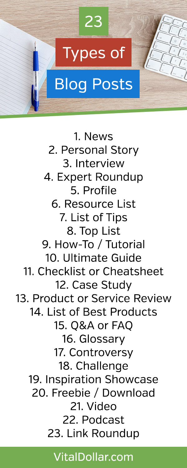 23 Effective Types of Blog Posts You Can Publish for Massive Results. Get easy blog post ideas with this free resource for bloggers. Brainstorm plenty of ideas in just minutes and create blog posts that grab attention and get traffic to your website. #vitaldollar #blogging #bloggingtips