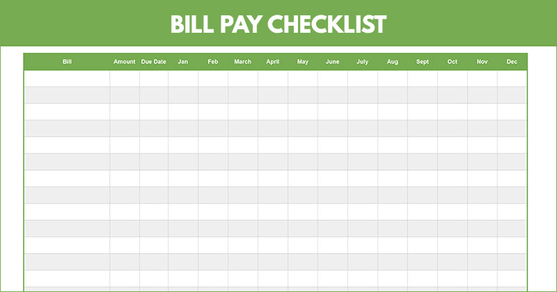 Monthly Bill Pay Checklist Printable + Spreadsheet: Free Download