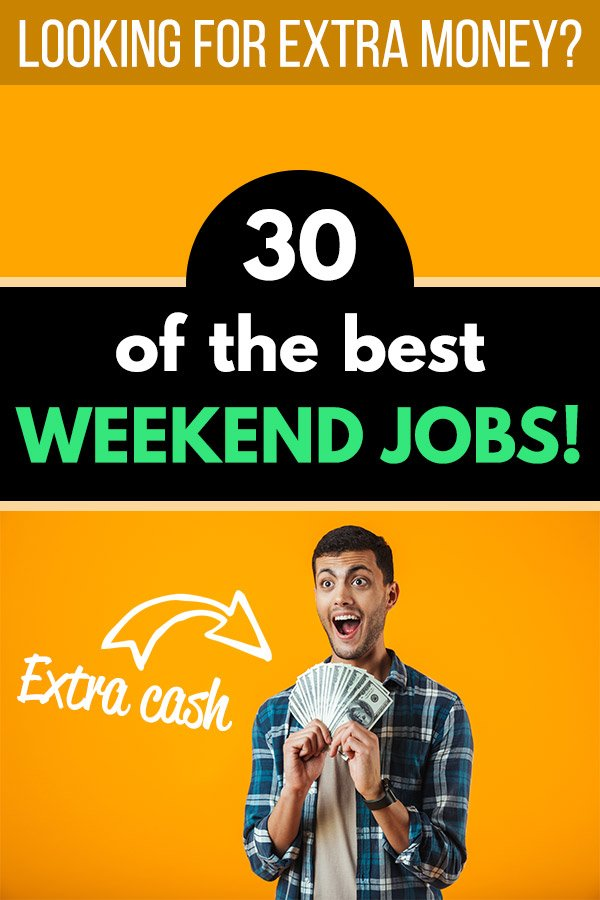 Are you looking for some extra money? Here are 30 of the best weekend jobs that will pay you extra cash and allow you to make more money without interfering with your full-time job! There are plenty of great opportunities and ways to make extra money, including freelancing, serving, blogging, working as a handyman, working as a delivery driver, and many others. Flexible side hustles for busy people! #makemoney #makingmoney #sidehustle #entrepreneur #money