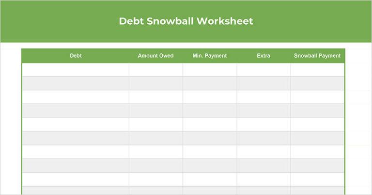 Free Debt Snowball Worksheet (Spreadsheet + Printable)