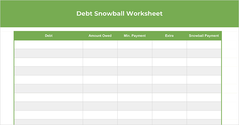 image about Free Printable Debt Free Charts referred to as Totally free Credit card debt Snowball Worksheet (Spreadsheet + Printable