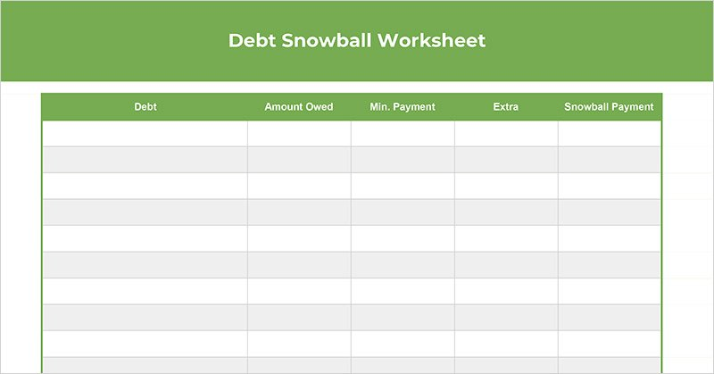graphic regarding Free Printable Spreadsheet With Lines titled Cost-free Personal debt Snowball Worksheet (Spreadsheet + Printable