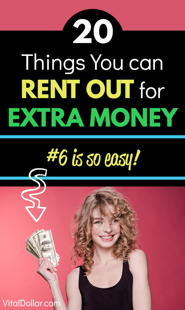 20 Things You Can Rent Out for Extra Money. Looking for some extra income? Make cash quickly by renting out things that you\'re not using. There are A LOT of possibilities and this article covers 20 that can be used as ideal side hustles for mostly passive income. Rent a room, your house, your car, bike, RV, boat, clothes, parking space, land, baby stuff, and much more. #sidehustle #makemoney #makingmoney #extramoney #money #personalfinance