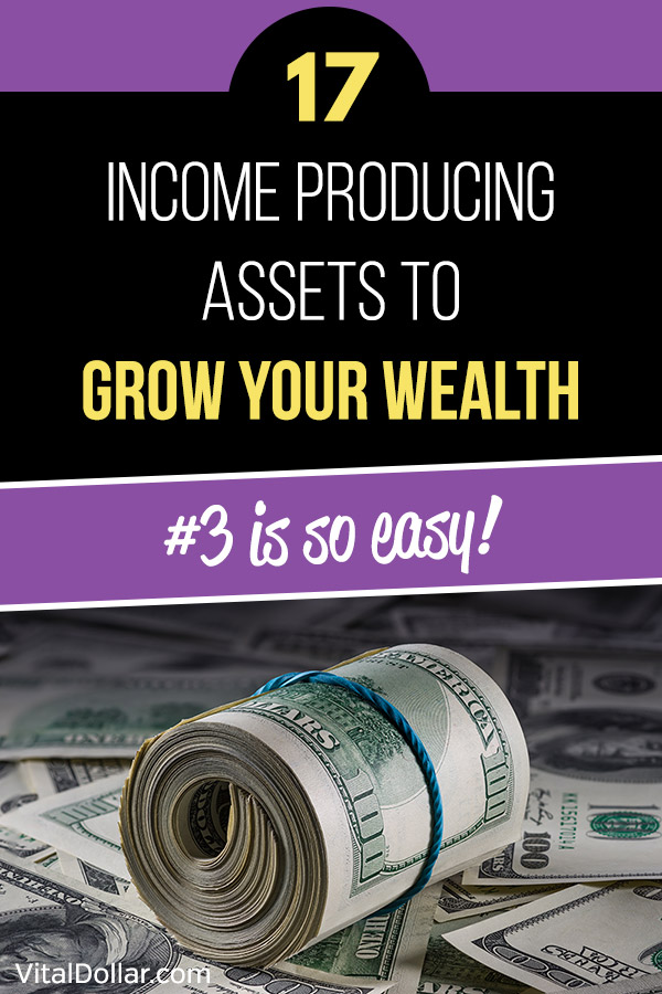17 Income Producing Assets to Grow Your Wealth. Use passive income to pay for your living expenses in retirement or grow your net worth quickly with the help of these income generating assets. Rental properties, real estate crowdfunding, REITs, dividend stocks, land, peer-to-peer lending, online business, royalties, bonds, private equity, and more. Investing to increase wealth and become a millionaire. #investing #personalfinance #money #networth #finance
