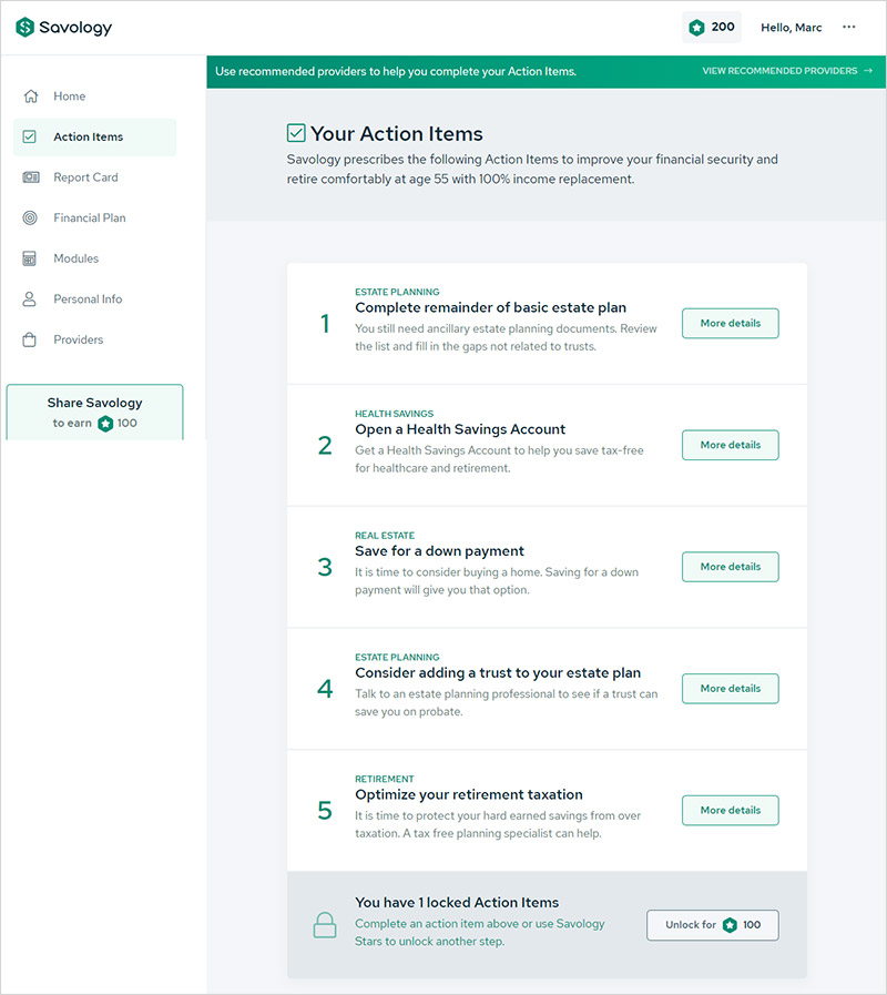 A review of Savology's free financial planning platform - Action Items