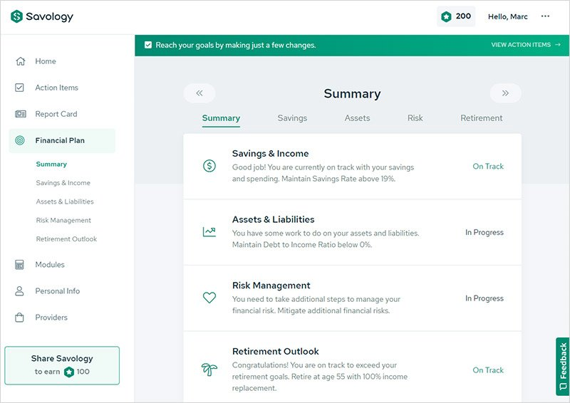 A review of Savology's free financial planning platform - Plan Summary