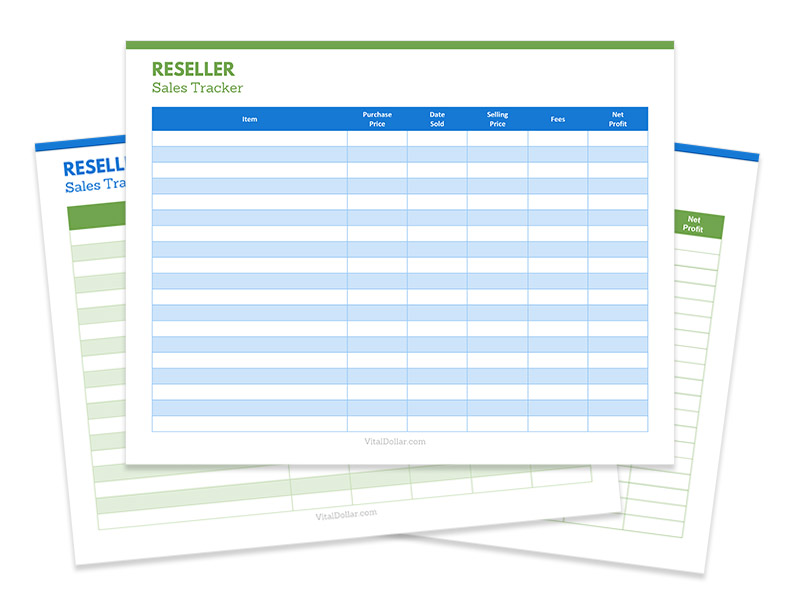 eBay Reseller Sales Tracker Printable and Excel Spreadsheet